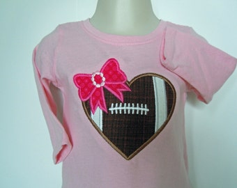 Baby Girl Football Tee, Girl's Football Outfit, Baby Girl Long Sleeve Top with Football Heart and Bow, Size 6 Mos. Little Girl's Pink Top