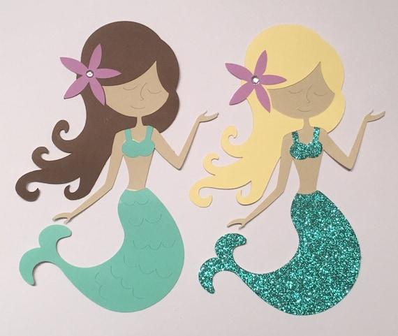 5 Pcs Mermaid Die Cuts Mermaid Cutouts Mermaid by KbPaperCo
