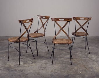 Original solid wood and iron chairs