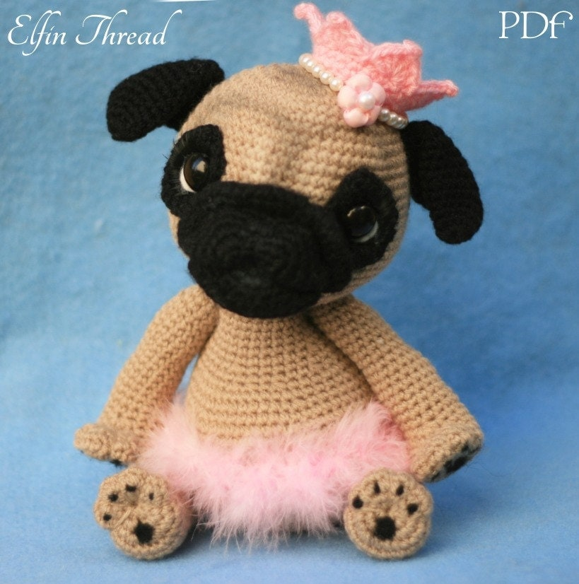 Amigurumi Animals Patterns Free : Elfin Thread Queency The Pug Puppy Amigurumi PDF Pattern