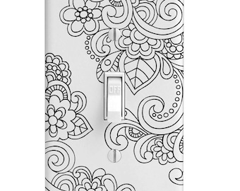 Light Switch Cover-Black Flower Swirl Pattern-Printed Single Toggle-Rocker-SwitchPlates-outlet-Home Decor-Wall Decor-Decorative Wall Plate-