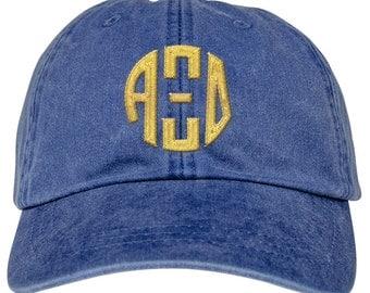 Alpha Xi Delta Lettered Round Monogram Premium Pastel Hat