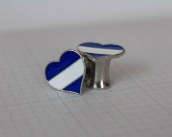 Blue and White Striped 2 Gauge Hearts