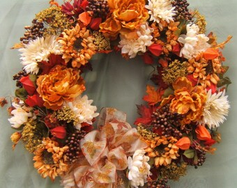 SEPTEMBER MORN WREATH, Harvest wreath, Autumn Wreath, Fall Wreath, Door Wreath, Thanksgiving Wreath, Silk Floral Wreath, Fall Decor, Wreaths