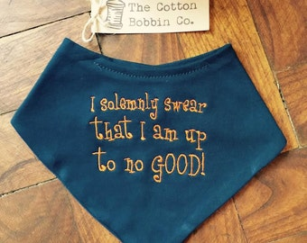 Harry Potter Inspired Marauders Map Baby Bib Embroidered I Solemnly Swear I am Up To No Good SuperSoft Cotton Baby Bandana Bib