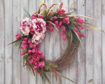 Door, Wreath, Grapevine, Tulips, Peonies, Lavender
