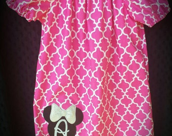 Minnie mouse dress, Disney dress, Minnie birthday party, monogrammed dress, girls dress, boutique dress, Minnie applique