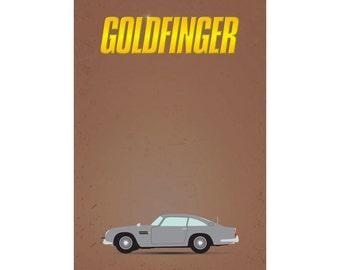 James Bond 007 - Goldfinger Minimalist A4 A3 A2 Poster Print
