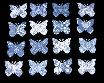 32 Blue and White Butterfly Die Cut Embellishments