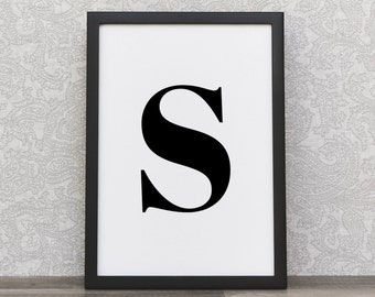 Initial Art Prints | Letter Art | Initial Print | Print Letter Art | Letter S | Initial S | Minimalist Wall Decor | Black Typography Prints