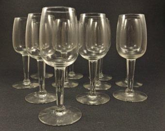 Vintage Set Of 11 Stemmed Shot Glasses, Set Cordial Glasses, Vintage Barware Glassware, Aperitif Liqueur Glasses