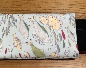 Phone sleeve in Fishes fabric