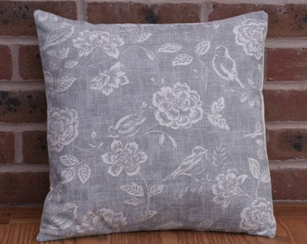 """Charcoal Grey Birds with Flowers Decorative Home Decor Pillow Cushion Cover 16"""" / 40cm"""