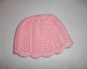 Pink Scallop Baby Beanie