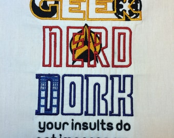 Sci Fi Geek Nerd Dork Machine Embroidery Design 5x7
