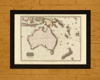 Get 1 Free Print *_* Old Map of Australia 1813 - Ancient Map Wall Art Antique Map Poster Old Map Prints Australia Map Australasia Gift Idea