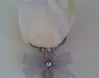 Ready to Ship Rose Boutonniere-White Boutonniere-Prom Flowers-Homecoming Boutonniere