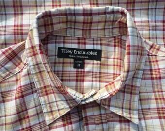 TILLEY ENDURABLE medium short sleeve red and gold plaid shirt
