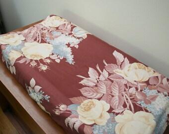 vintage baby bedding, floral baby bedding, toddler bedding, floral changing pad cover, floral kids bedding, vintage changing pad cover
