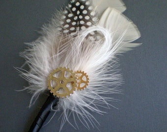 Steampunk Gear & Sprocket Boutonniere - Steampunk Wedding - Ribbon Stem - Fancy Feathers - Customizations Available