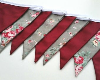 Fabric Bunting Light Green Floral & Plain Burgundy Red Bunting Double Sided Cotton Flags 3m Roses Banner