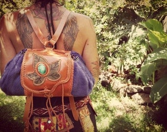 BACKPACK leather VINTAGE, Bohemian, hippie