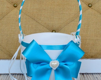 MALIBU BLUE, Wedding Flower Girl Basket - White / Ivory Wedding Basket,Wedding Flower Girl Basket