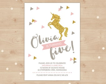 Unicorn Birthday Invitation, gold glitter and pink invitation, girls birthday invite, printable invitation, Gold glitter unicorn invitation