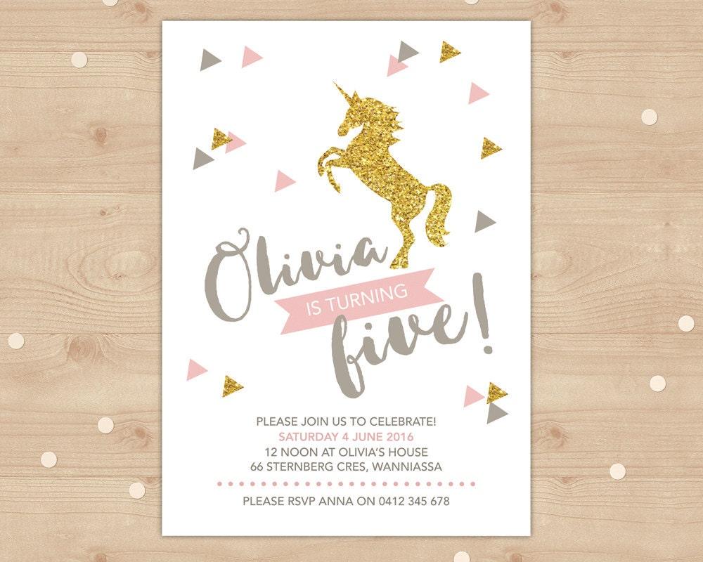 Unicorn Birthday Invitation gold glitter and pink invitation