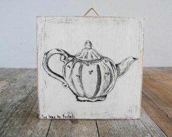 Miniature painting, Antique teapot print, Rustic wood signs, Kitchen decor, Hostess gift, Retro decor