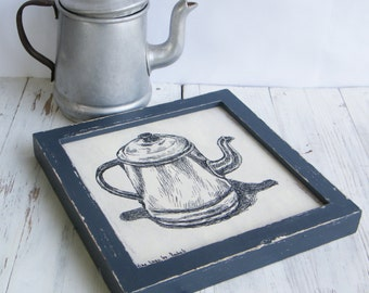 Framed art, Antique teapot print, Wood sign ideas, Wall art, Kitchen decor, Shabby chic, Rustic style