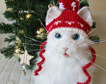 Pet christmas hat Cat dog christmas hat Cat santa hat Dog santa hat Red cat dog hat Pet costume Pet holiday outfit Cat lover gift dog lovers