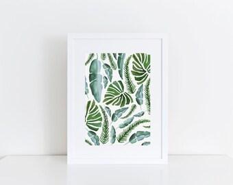 Leaf- Watercolor Print, 5x7, 8x10