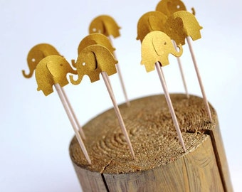 Gold Elephant Cupcake Toppers,  Baby Shower Cupcake Toppers, Foodpicks,Elephant Toppers, Baby Elephant Cake Decoration, Africa Theme Party