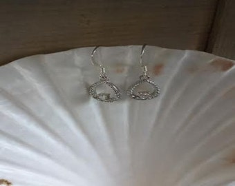 Silver and rhinestone earrings  (ER050)