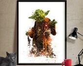 Star Wars Print, Yoda Print, Yoda Art Poster, Abstract Movie Poster,Star Wars Wall Art, Wall Hanging, Gift for him, Home Decor (198)