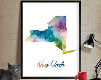 New York Map, New York Map Poster, Watercolor New York Map, Print Decor, New York Map, Art Print, New York, Watercolor State, Wall Art (359)