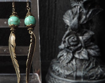 "Earrings ""Turquoise Feather"""