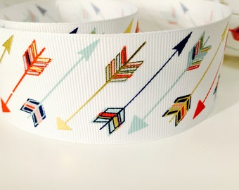 Gold Colorful Arrow Ribbon, Grosgrain 1.5 Inch, Metallic Pattern, Ideal for Baby Nursery Crafts