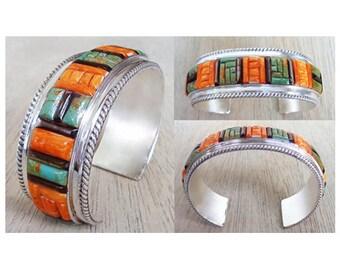 Turquoise/Orange Spiny/Black Lip Shell Cornrow Sterling Silver Bracelet