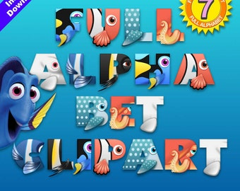 FINDING DORY - Full Alphabet Clipart - 252 png files 300 dpi for Cardmaking, Scrapbooking, Party Decorations and More - Instant Download