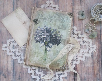 Violet diary, journal, notebook, vintage style diary, vintage style journal, vintage style notebook, shabby chic diary, shabby chic journal