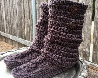 Handmade Crochet Boot Slippers with cuff