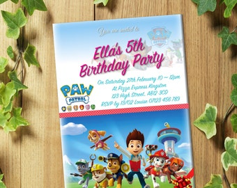 PRINTED & DELIVERED: 20 Personalized Paw Patrol Birthday Party Invitations Invites + Envelopes