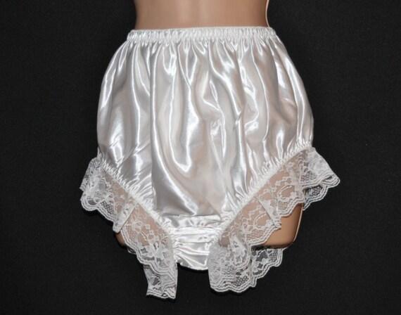 Virgin white lacy panties, femme creamy silky lacy panties, crossdressing fun, Sissy Lingerie
