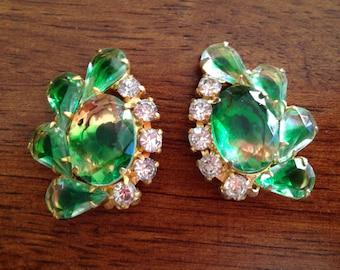 Fabulous Juliana D&E Green Givre and Clear Rhinestone Earrings 0321