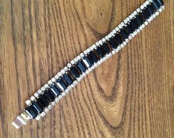 Vintage Black Baguette and Clear Rhinestone Bracelet 0578