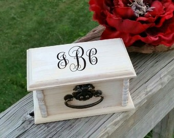 Monogram Treasure Chest, Small Wooden Box, Ring Box