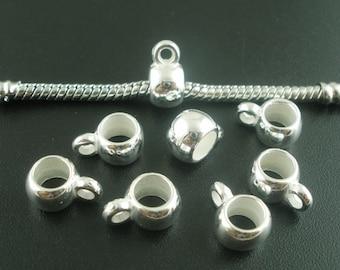 Silver Bails, Charm Bails, Acrylic Bails, Dangle Beads, Silver Bail Beads, European Bails,Jewelry Bails,Charm Holders,Pendant Bails,50 Bails