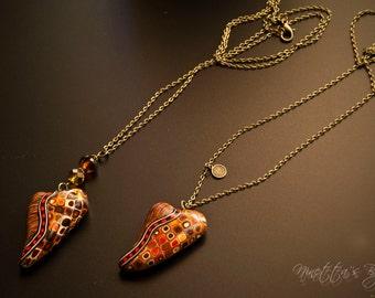 heart pendant necklace in fimo Klimt style vintage